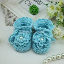 Handmade Crochet Baby Shoes blue flower girl  shoes Crocheting Baby Shoes Woven Boots for Baby gift