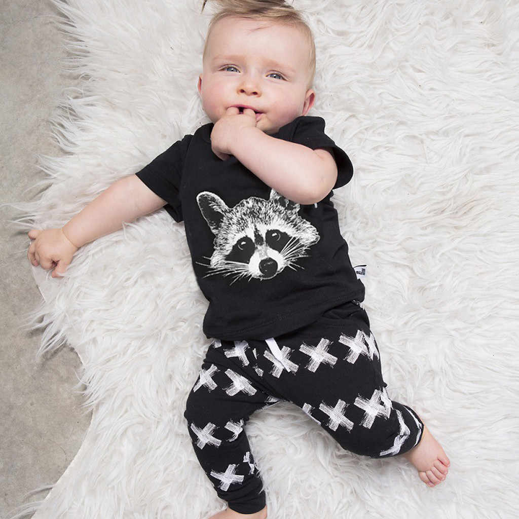 ONTO-MATO (12M-3T)Fashion Toddler Kids Baby Boys Cartoon Cute Raccoon Print Tops T shirt Pants Outfits Set детская одежда #19510