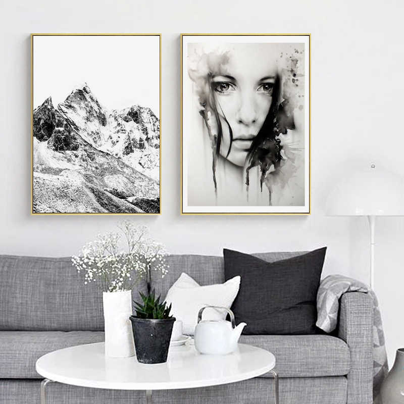 Nordic Canvas Prints and Posters Wall Art Black White Mountain Paintings Wall Pictures for Home Decoration, Landscape Wall Decor