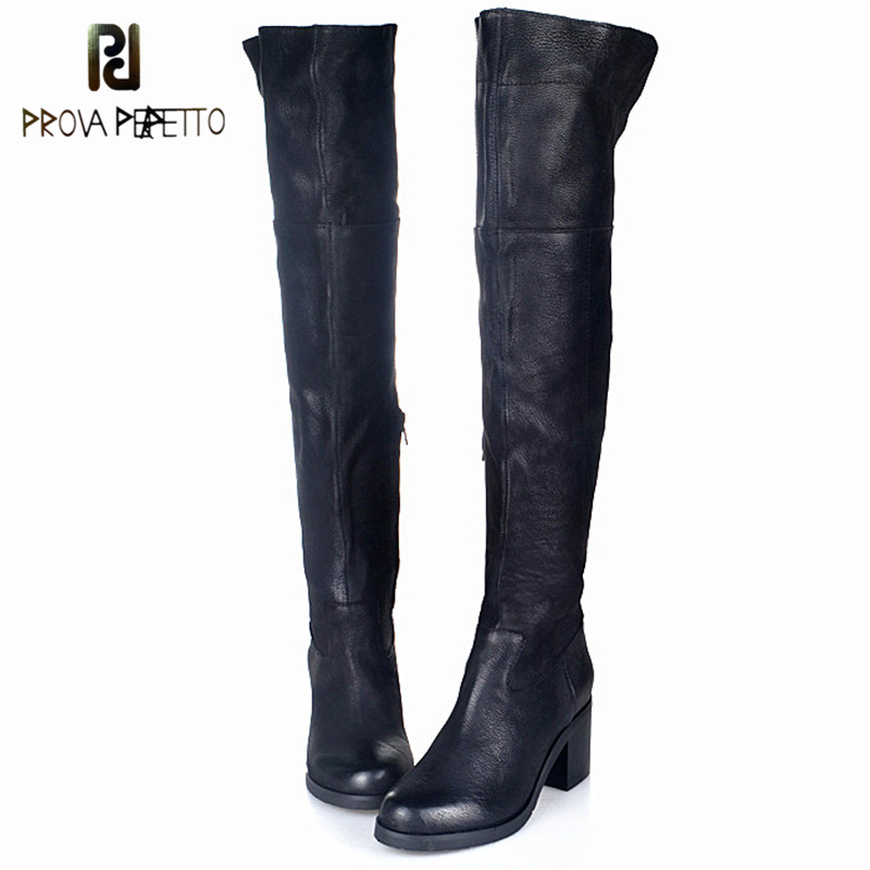 Prova Perfetto European Popular Female Boot Grind Arenaceous Leather High Heels Boot Winter Plush In Over