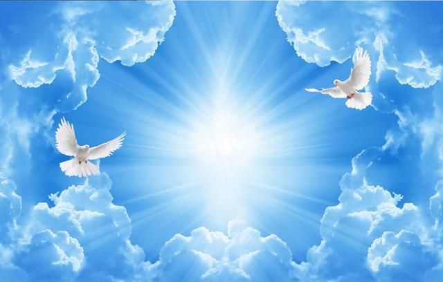 3d Techo Cielo Azul Y Nubes Blancas Personalizado Hd 3d