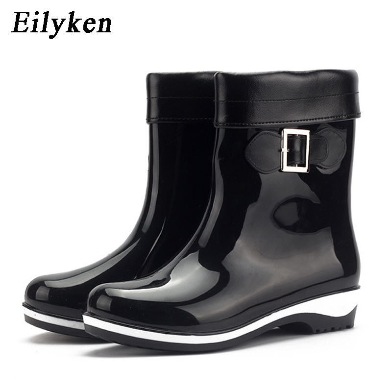 26f3ca3a87b Eilyken Winter Summer Rain Boots For Women Anti-slip Warm Boots Wedges  Platform Ankle Rainning Shoes Rubber Boots size 36-41