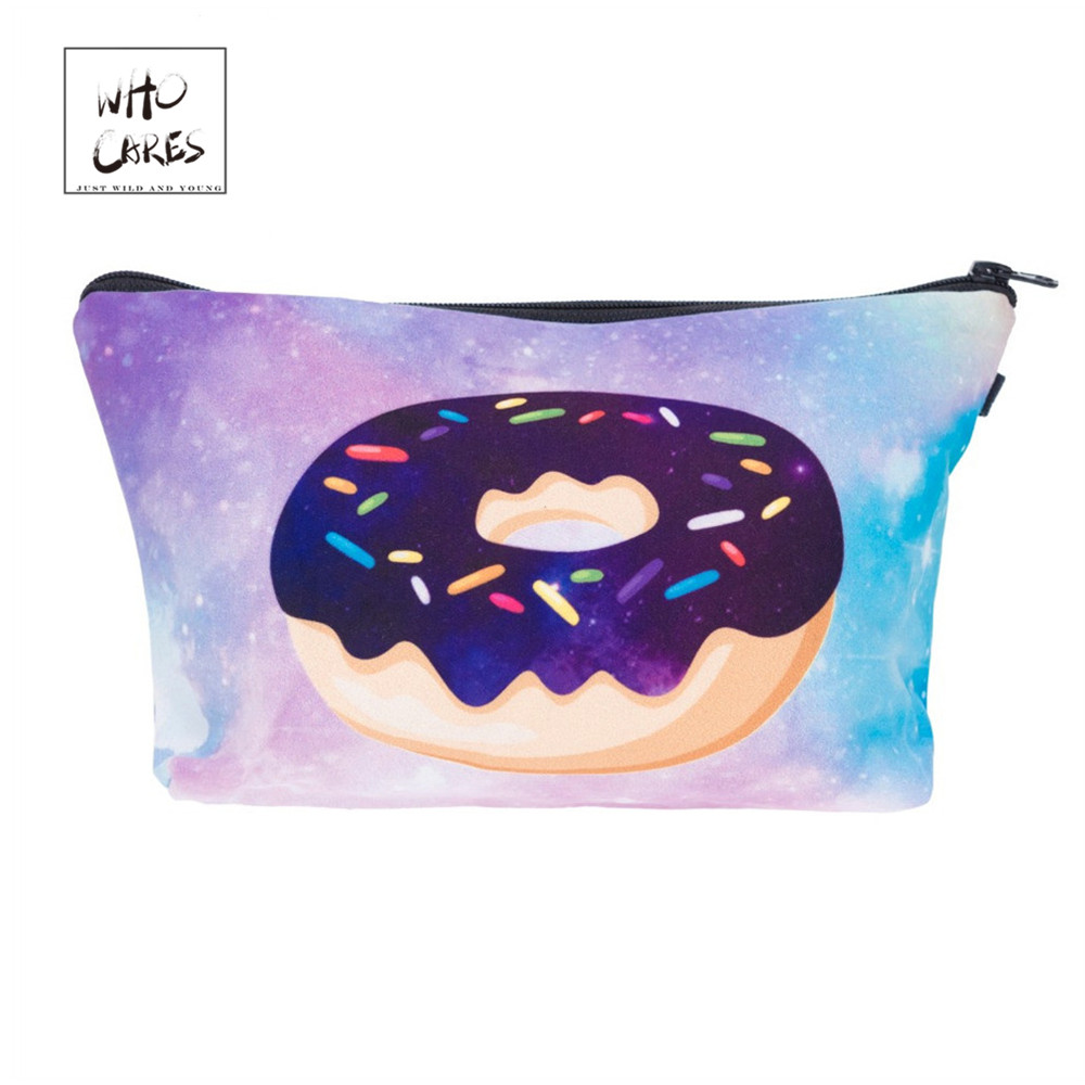 Who Cares Donut 3D Printing Fashion Cosmetic Organizer Bag Makeup Bags Ladies Pouch Women Cosmetic Bag