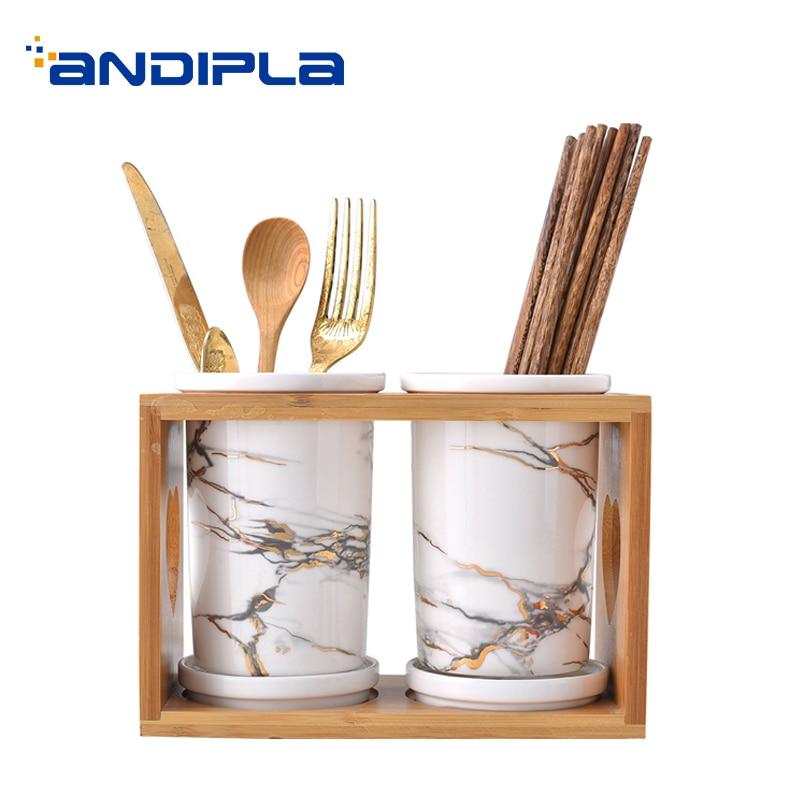 US $50.55 36% OFF European Style Ceramic Marble Pattern Chopsticks Storage  for Home Kitchen Accessories Wooden Shelf Spoon Fork Holder Tableware-in ...