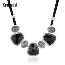Kymyad Vintage Choker Statement Necklace Women Bijoux Rope Chain Resin Geometric Necklaces Pendants Big Chunky Necklaces