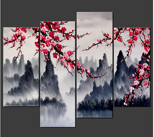 Large Painting Chinese Wall Art Framed 4 Panel Interior