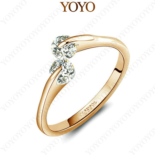 b267c480e Rings for Woman 18K Rose Gold Plated Fashion Design Twin Zircon CZ Diamond  Engagement Jewelry (YOYO R073R1)