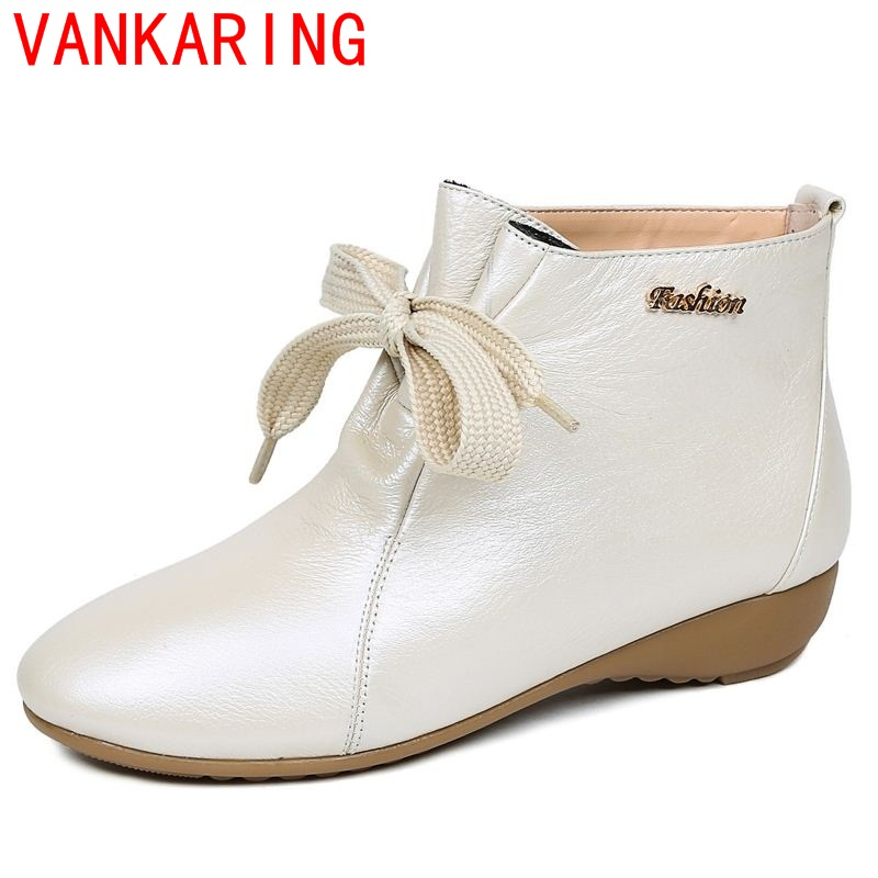 ФОТО VANKARING shoes 2017 women ankle boots european and american style leisure lace up low heels round toe fashion riding boots