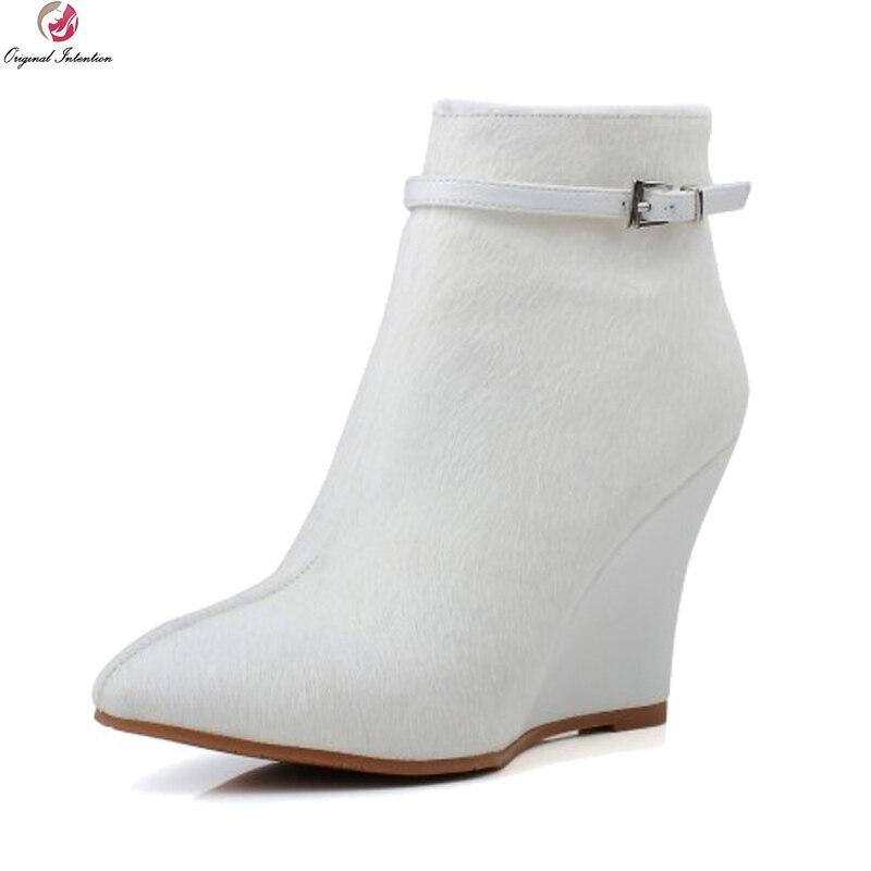 Intention originale élégant femmes bottines cheveux de cheval bout pointu bottes compensées élégant noir blanc chaussures femme taille américaine 3-9.5