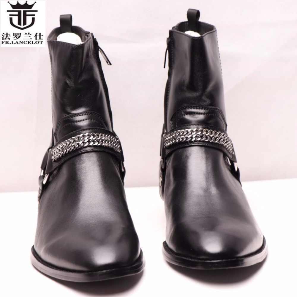 082e836cd7c53 LANCELOT Winter Men Shoes Suede Genuine Leather Men Ankle Boots Luxury  Brand Black Color