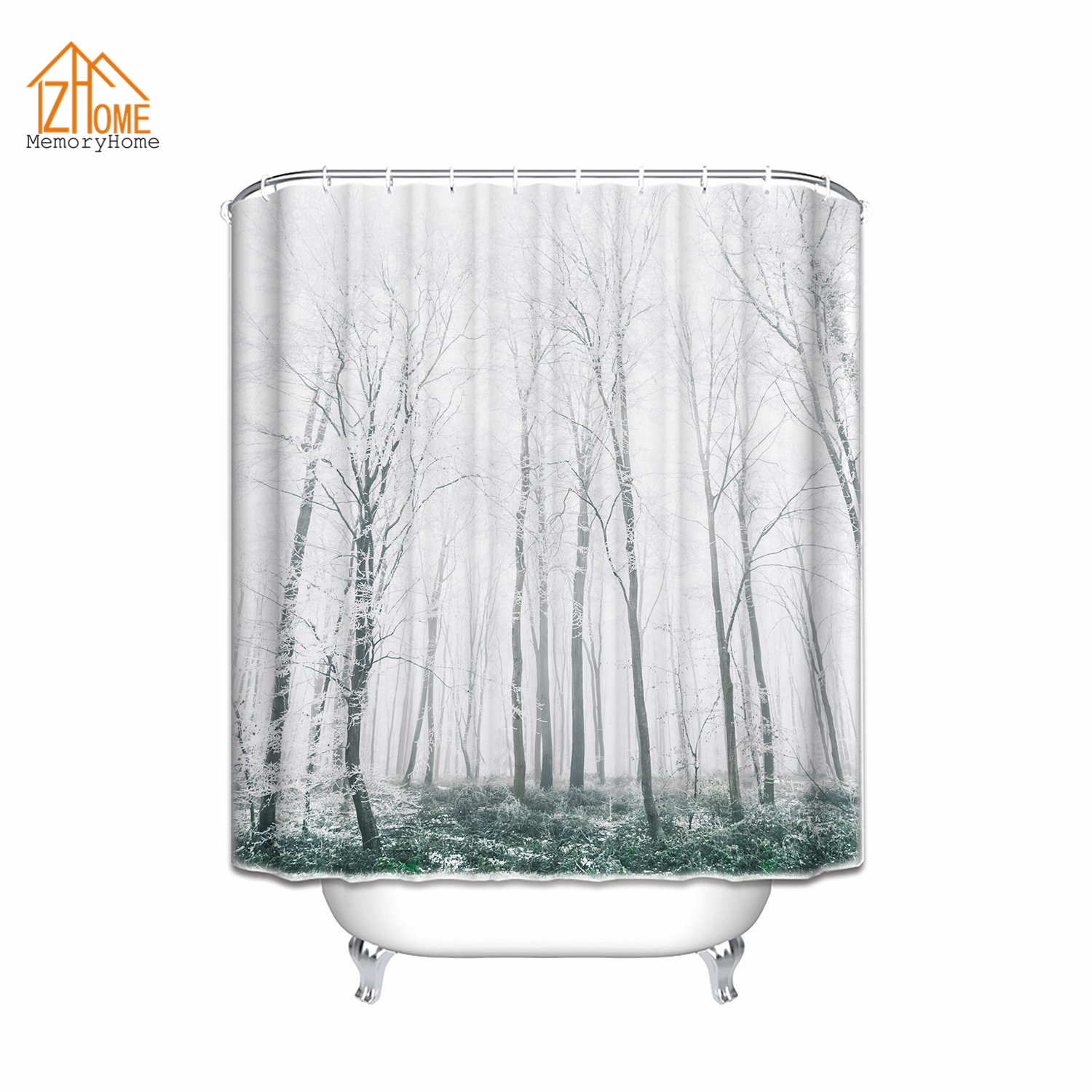 Winter shower curtain - Memory Home Winter Snow On Trees Waterproof Polyester Bathroom Curtains Winter Scene Heavy Snow Forest Fabric