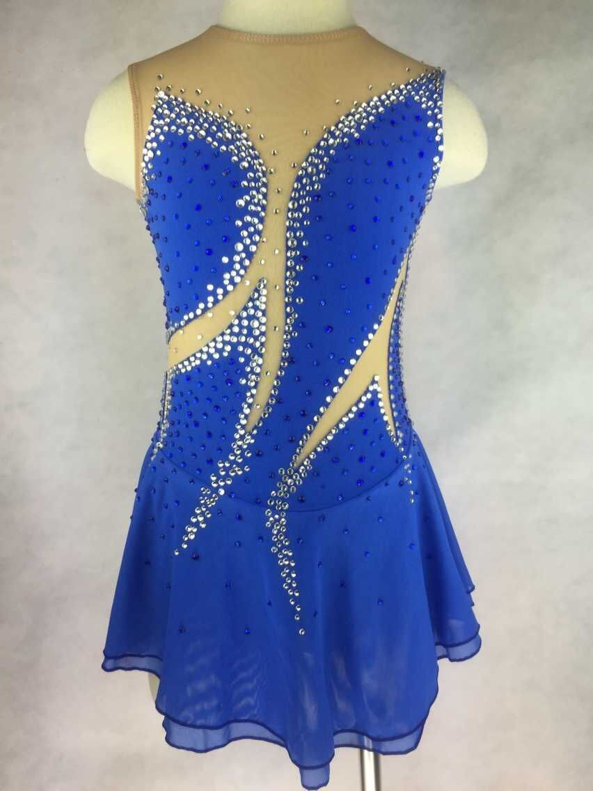 blue figure skating dresses custom ice skating clothing