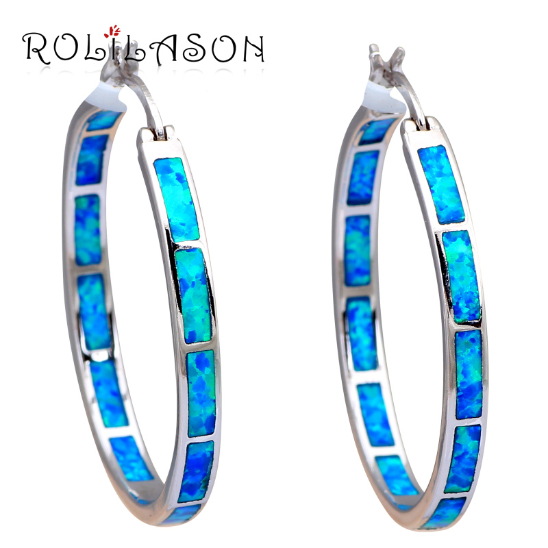 Huge Round Hoop Earrings for women 2016 Wholesale Retail Blue Fire Opal Silver Stamped Fashion Jewelry