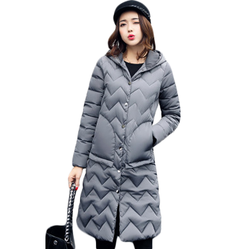 2018 New Design Wave Cut Womens   Parka   Slim Long Cotton Coat Outerwear Female Winter Quilted Overcoat Hooded Thick   Parka   XH883