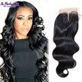 Средняя часть закрытия шнурка перуанский объемная волна кружева закрытие 3 часть 4x4 закрытие 7а необработанные девственные волосы благодати волос 1b
