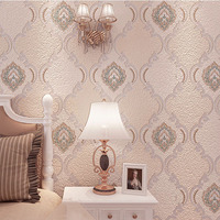 Luxury European Beige Suede 3d Flocking Wallpaper for Living Room Home Decor Fashion Relief Non woven Wall Paper