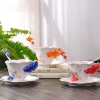 Creative Beautifully 3D goldfish enamel Coffee Mug with spoon dish,Colored ceramics porcelain Mug with saucers and teaspoons