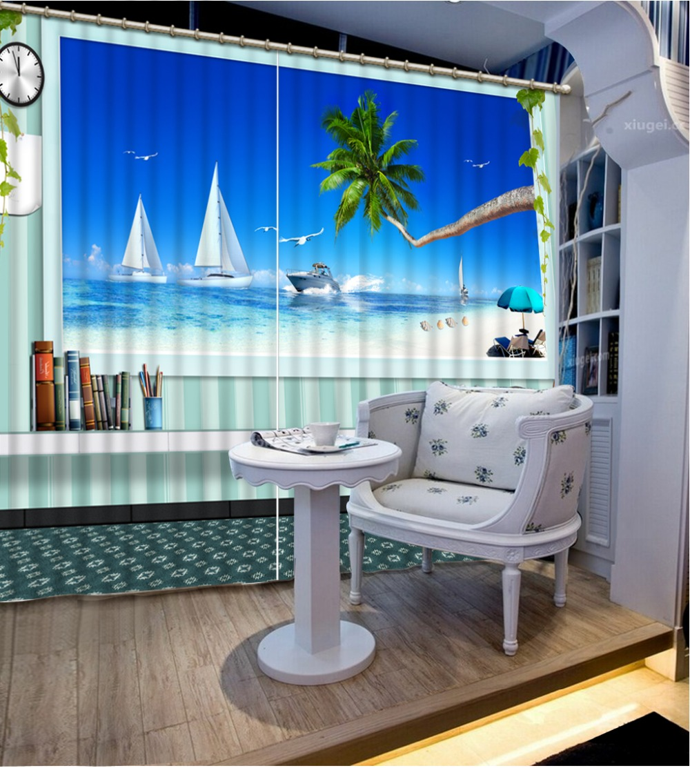 Beach Window Curtains Part - 37: Beach Modern Style 3D Window Curtains For Bedding Room Curtains For Living  Room Home Decoration(