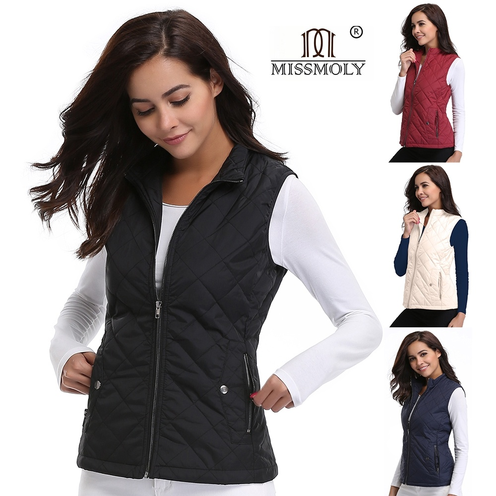 Women Vest Plus Size Winter Jacket Pocket Stand Collar Coat Warm Casual Cotton Padded Vest Lightweight Quilted Ladies Slim Vests