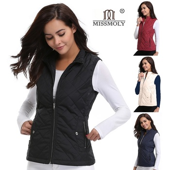 Women's Stand Collar Lightweight Quilted Vest Jacket Padded Gilets Zip Up Pockets Sleeveless Jacket