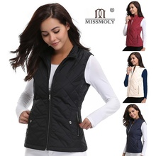 Women's Stand Collar Lightweight Quilted Vest Jacket Padded Gilets Zip Up Pocket