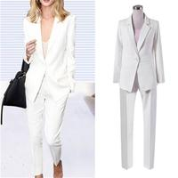 Fashion white suit suit female New high quality British style casual professional wear suit two piece suit women size S 3XL