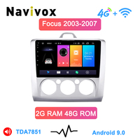 NAVIVOX 9 Android 9.0Car мультимедийный плеер комплект с gps навигатором для Ford Focus 2 S Max MK2 аксессуары rearcamer