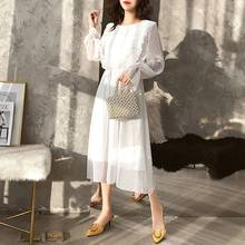 2019 dress women Elegant Loose Long Style Solid Color All-match Concise Casual Long Sleeve Dress