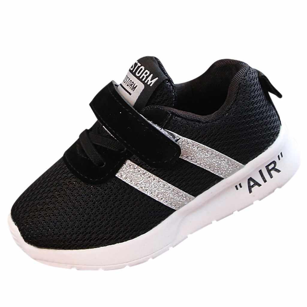 MUQGEW เด็กแฟชั่นเด็กใหม่เด็กทารกเด็กทารกเด็กหญิงตาข่ายสีทึบ Bling กีฬารองเท้าลำลอง 2019