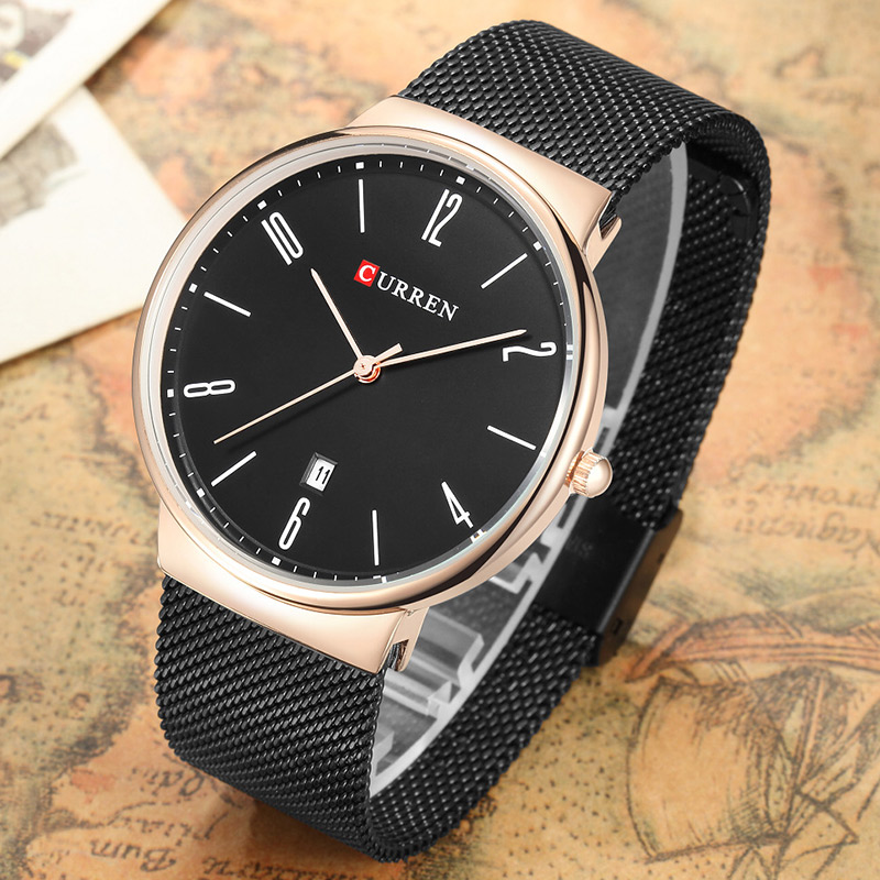 New CURREN Watch Men Black Steel Casual Sport Mens Watches Top Brand Luxury Waterproof Clock Male Quartz Watch Relogio Masculino curren watches mens brand luxury quartz watch men fashion casual sport wristwatch male clock waterproof stainless steel relogios