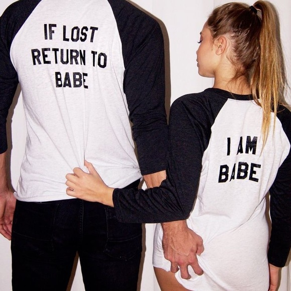2019 New Valentines Gift If Lost Return To Babe I Am Babe Women&Men Funny Long Sleeve 90s T-Shirt Boyfriend Girlfriend Tee Gift
