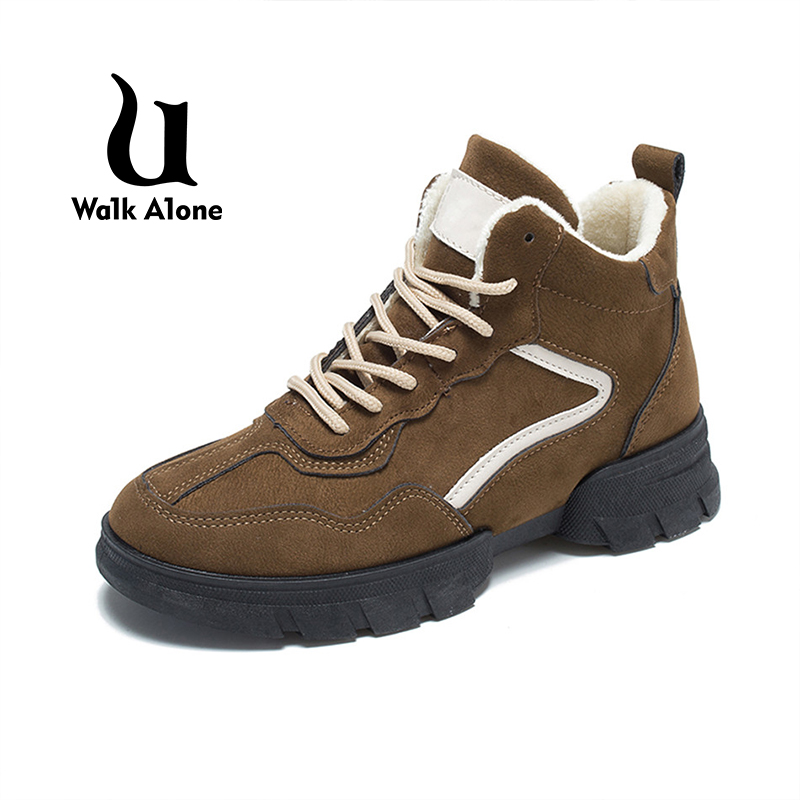 UWA1KA1LO 2018 Winter Short Tube Boots Sneakers Women New Shoes Air Cushion Female Plush Inside Sports Breathable Ankle Boots