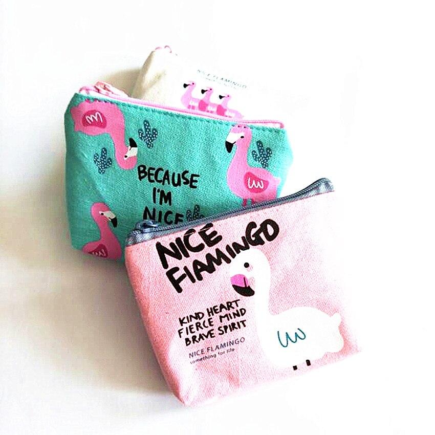 M111 Cute Flamingo Print Women Purses Cartoon Bird Flamingo Coin Wallet Originality High Performance Price Ratio Card Bag
