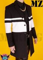 S 4XL! Певец матовый черный белый шерстяное пальто хит цвет ветровка судейства Выступления костюмы сценические костюмы одежда