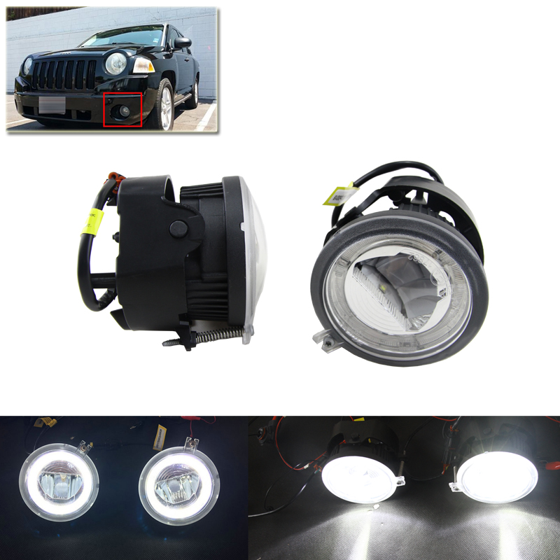 Xenon White Auto Car Led Fog Light W/ Guide DRL Halo Rings Kit Assembly For Chrysler Pacifica Sebring For Dodge Caliber Nitro free shipping cob led h7 car headlight kit 66w 6000lm auto front light h7 fog bulb 3000k xenon white 6000k led headlamp
