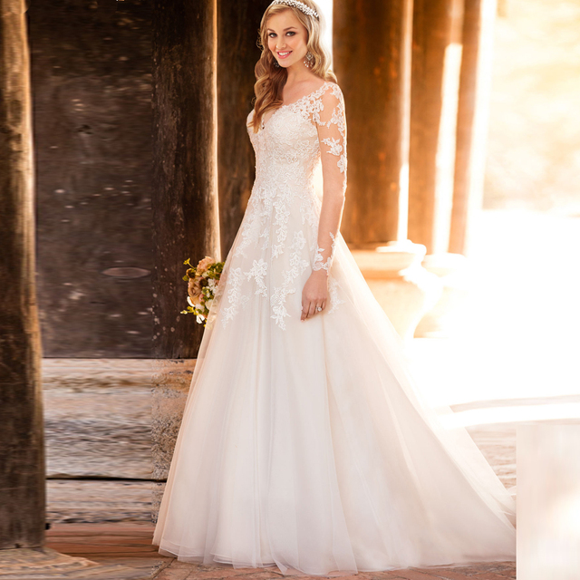 Custom Made New Long Sleeves A Line Wedding Dresses See Through Back Vintage Bridal Gowns