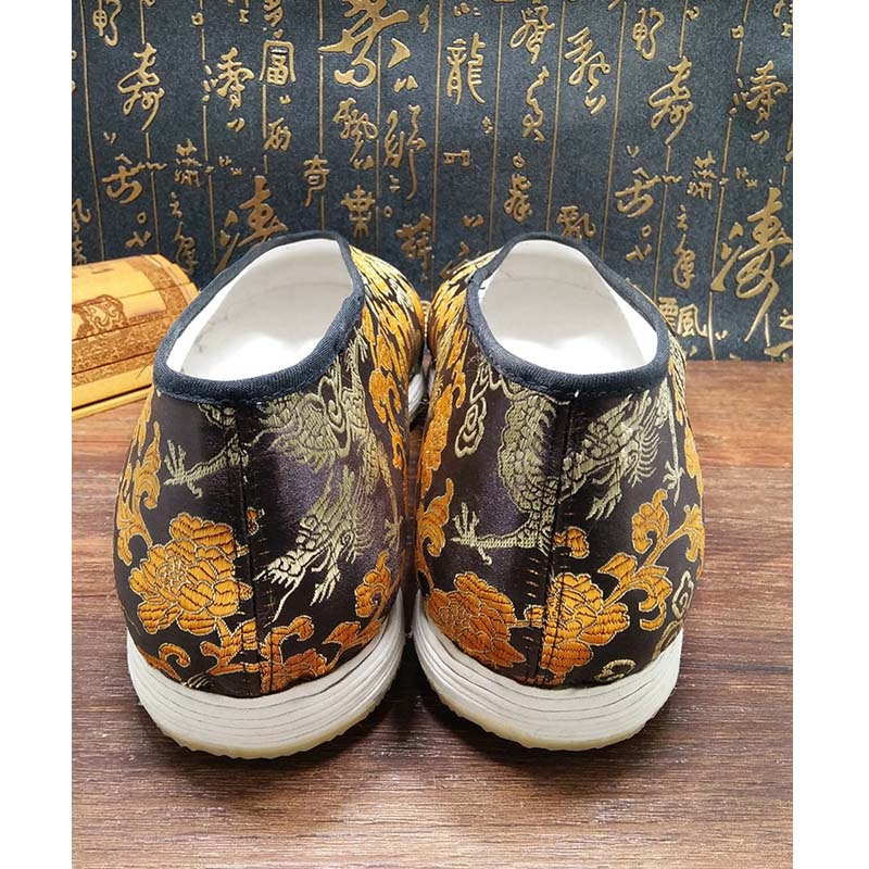 Chinese Handmade Men Casual Shoes Golden Dragon Emperor Breathable King Kung Fu Tai Chi Black Shoe Bruce Lee Martial Art Sneaker in Men 39 s Casual Shoes from Shoes