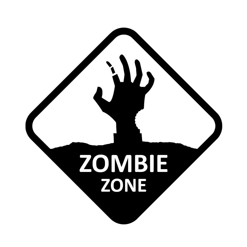 13cm*13cm Fashion ZOMBIE ZONE Walking Dead Hand Sign Black/Silver Vinyl Car Sticker Car-styling Decals c1-6808