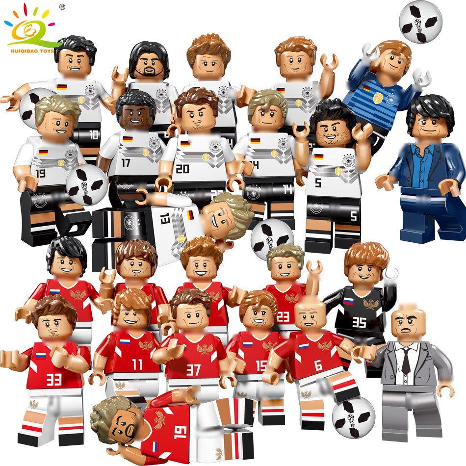 12pcs World football team sports Figures Building Block Compatible Legoing city Russia Germany Bricks children Toy winning cup