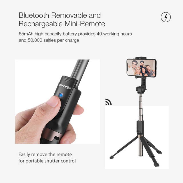 BlitzWolf BW-BS4 3 in 1 Bluetooth Wireless Selfie Stick Handheld Mini Foldable Extended Portable Tripod Monopod for Smartphones