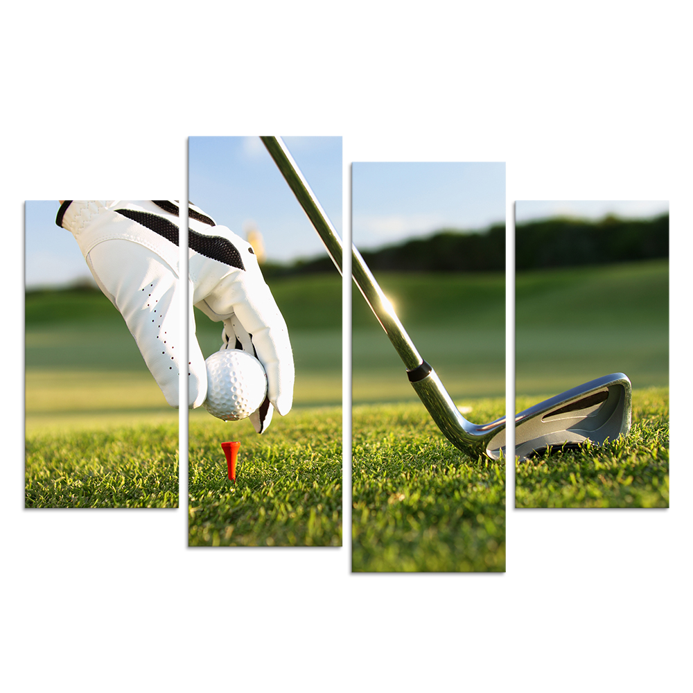 HD Playing Golf 4 Panels Canvas Wall Art Leisure Sports Canvas Pictures For Living Room Wall Posters/Al09252