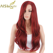 AISI BEAUTY 26″ Long Natural Wave Red Color Synthetic Hair Cosplay and Party Wigs for Women