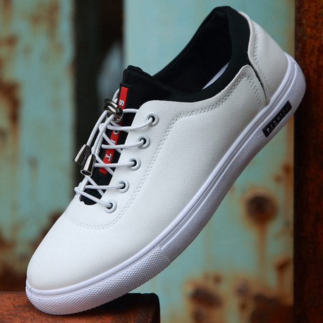 112ee2e6110c9 Men s Vulcanize Shoes shallow designer sneakers for boys massage  hard-wearing leather man shoes elastic band 2018 new