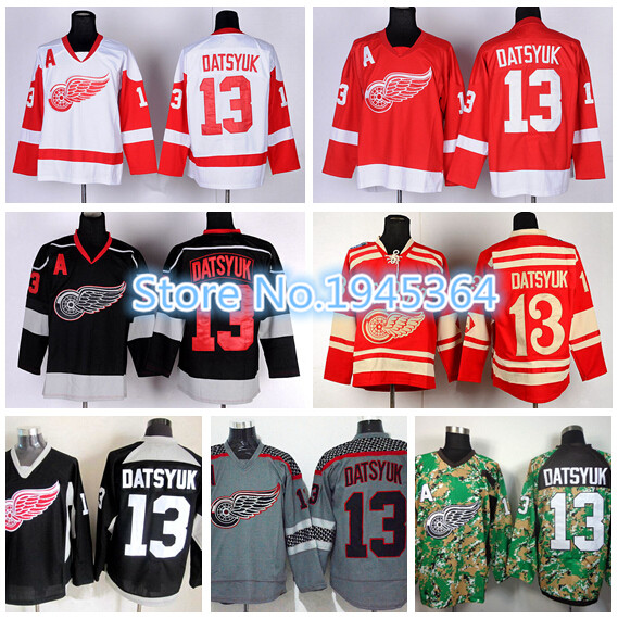 Detroit Red Wings Ice Hockey Jerseys 13 Pavel Datsyuk Jersey Winter Classic  Home Team Red White Gray Camo Black Ice Best Quality c0ca5de79d5