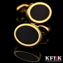 KFLK French Shirt Fashion Cufflink for Men's Brand Cuff link Button Oval Gold-color High Quality guests 2017 New Arrival