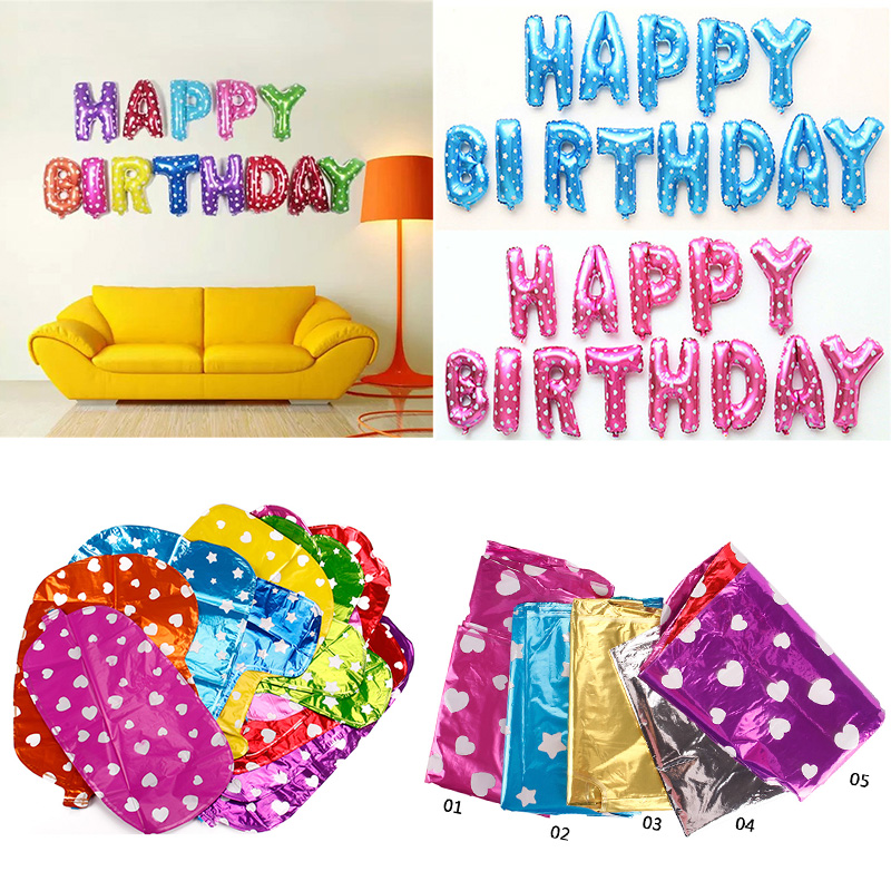 13pcs/Set Happy Birthday Letter Shaped balloons Multi Color Foil
