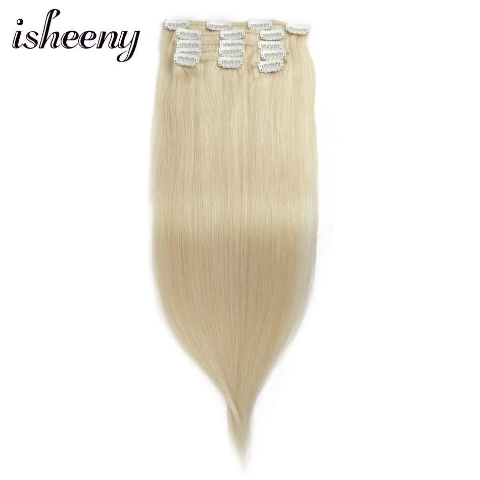 Isheeny 14 18 Remy Clip in Hair Extensions 7pcs/set 613# Blonde Human Hair Straight