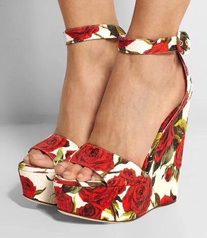 new summer red rose flower leather open toe high wedge sandal buckle high platform rose flower wedge sandal real photos