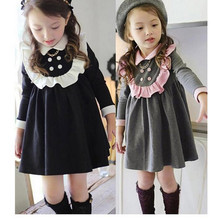 2016 autumn dress girl new winter long sleeve kids dress top quality cute cotton school style baby girl clothes for 2-8 children