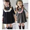 2017 primavera vestido de la muchacha nueva invierno niños vestido de manga larga superior calidad de algodón lindo estilo de la escuela de bebé ropa de la muchacha para 2-8 niños